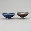 Berndt friberg, two stoneware bowls, gustavsbergs studio, signed.