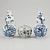 A pair of blue and white 'double gourd' vases, qing dynasty, late 19th century, and a ceramic jar, south east asian.