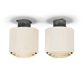 Alvar Aalto, a pair of mid-20th century ceiling lights for Idman.