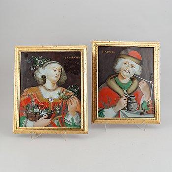 A pair of glas painting, around 1800.