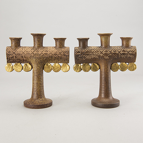 Lisa larson, a pair of stone ware candelabras.