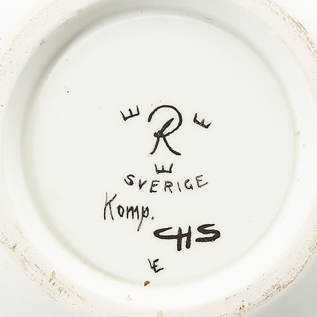 Carl-harry stålhane, a signed stone ware plate from rörstrand.