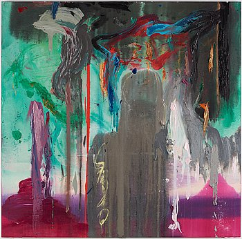 Stephen Mueller, acrylic on canvas, signed and dated 1986 on verso.