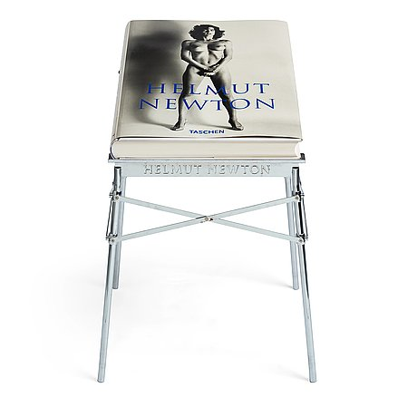 Helmut newton, signed book published by taschen, monte carlo, 1999, ed 10000, with a metal table.