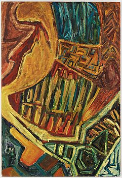 Margrit Lewczuk, oil on canvas, signed and dated 1981-85 on verso.