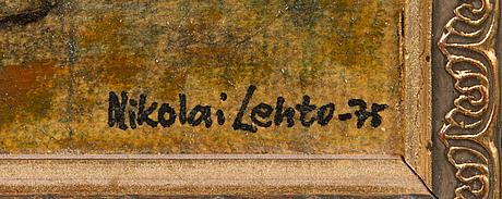 Nikolai lehto, olja på pannå, signerad och daterad -75.