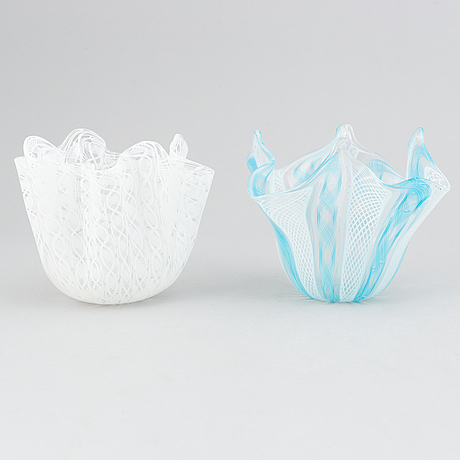 Paolo venini & fulvio bianconi,  two 'fazzoletto' glass vases, venini, murano, italy.
