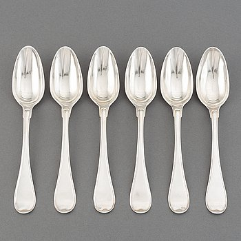 A set of six Swedish 18th century silver spoons, maker's mark Petter Eneroth, Stockholm, 1785.