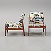 A pair of easy chairs by alf svensson for bodafors, dated 1963.