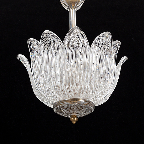 A glass ceiling lamp, probably orrefors, mid 20th century.