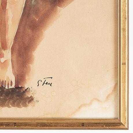 John sten, watercolour, signed.