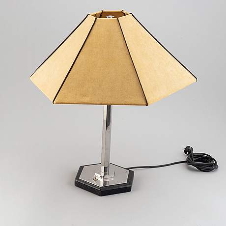 A metal and wood table lamp, second half of the 20th century.