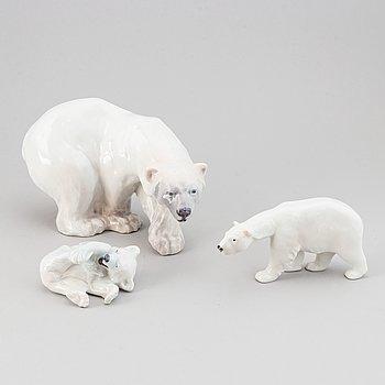 A set of three Danish Royal Copenhagen porcelain polar bears.