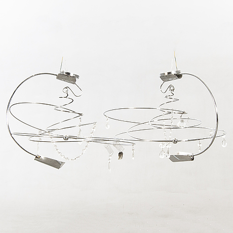 Toni cordero, a pair of melissa ceiling lamps for artemide italy later part of the 20th century.