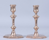 Ljusstakar, ett par, mässing, senbarock, 1700-tal.