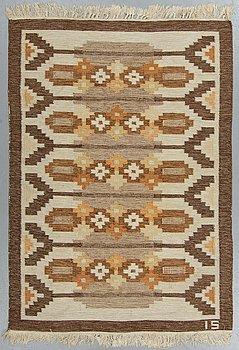 Ingegerd Silow, a carpet, flat weave, ca 193,5-194,5 x 137-139 cm, signed IS.