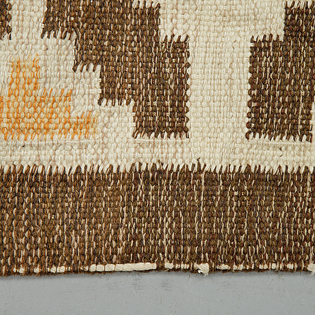 Ingegerd silow, matto, flat weave, ca 193,5-194,5 x 137-139 cm, signed is.