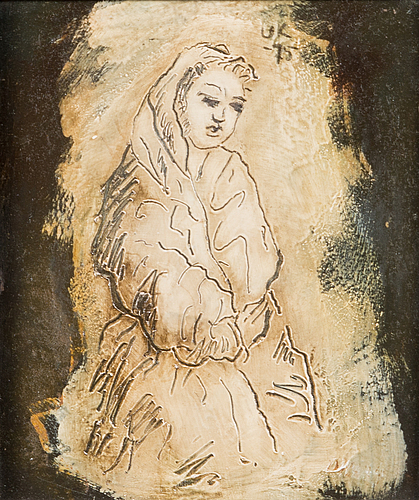 Unto koistinen, oil on board, signed and dated -75.