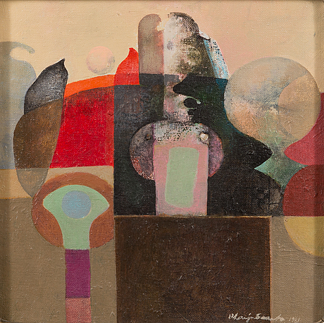 Marja saarto-hankiranta, acrylic on canvas, signed and dated 1981.