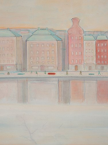 Einar jolin, skeppsbron and the royal castle - view over stockholm.