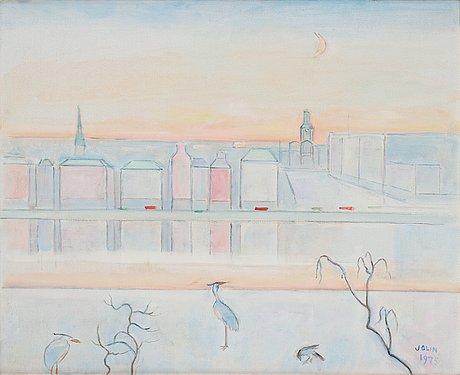 Einar jolin, view over skeppsbron and storkyrkan.