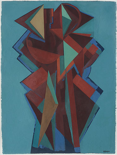 C göran karlsson, tempera on paper, signed and dated -87.