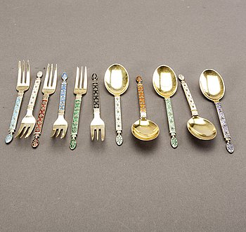A Norwegian 20th century set of 22 pcs of silver and enamel cutlery mark of Tostrup total weight approx 442 gr.
