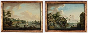Johan Philip Korn, attributed to, a pair, oil on panel.