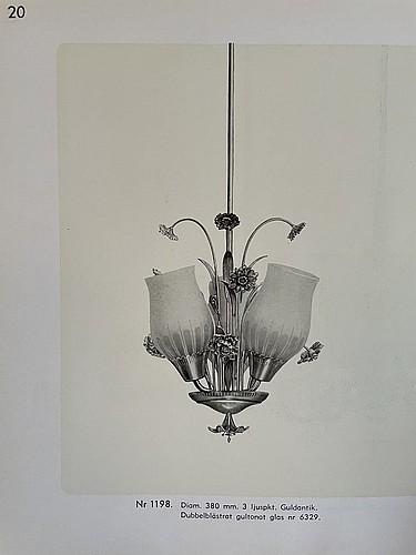 Bröderna malmströms metallvarufabrik., a pair of ceiling lamps, swedish modern, malmö 1940's.