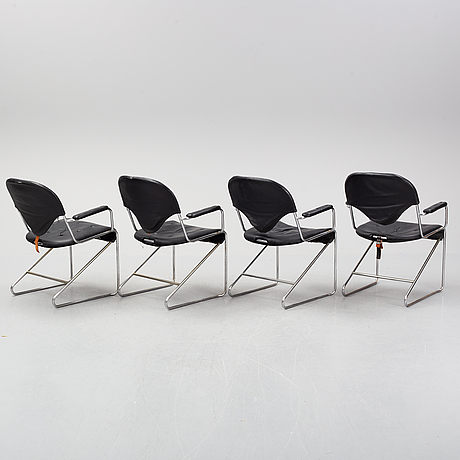 Four 'sam' armchairs by sam larsson for dux. late 20th century.