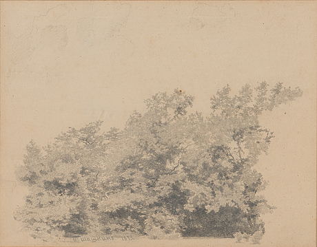 Ivan ivanovitch shishkin, drawing, signed and dated 1873.