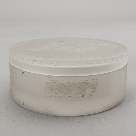 Powder box possibly r lalique 1910/20s glass.