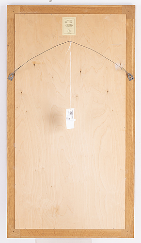 A 'diplomat' oak mirror from froseke, 1960's.