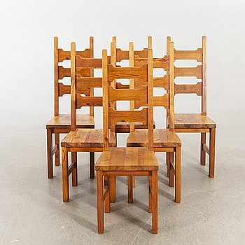 Chairs, pine, sports cabin model, 6 pcs, second half of the 20th century.
