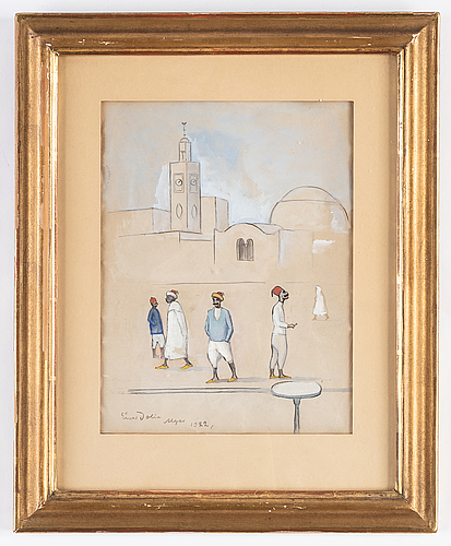 Einar jolin, mixed media/gouache on paper, signed and dated alger 1922.