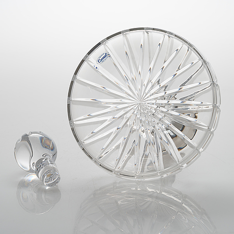 Carr's ship's decanter, cut crystal with a sterling silver collar, sheffield, england 2001.