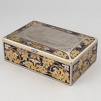 A Swedish steel cigar box, signed Emil Olsson, Eskilstuna. Early 20th century.