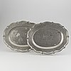 A pair of rococo pewter dishes, carl saur, stockholm 1767.