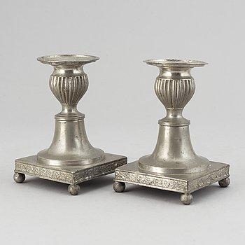 A pair of pewter candlesticks by Niclas Anström, Växjö 1835.