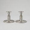 A pair of swedish pewter candlesticks, cg hallberg, 1930.