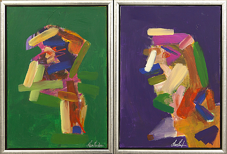 Lars lundgren, 2 pieces, lars lundgren, denmark, oil on canvas, signed.