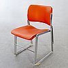 "David rowland, a set of six ""40/4"" chairs later part of the 20th century."