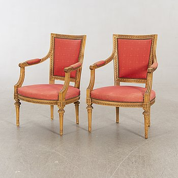 A pair of  20th century armchairs in gustavian style.