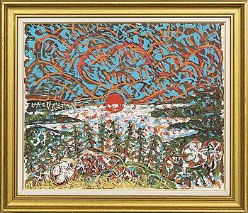 Uno Vallman, Oil, motif of sunset.