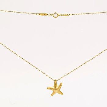 "Tiffany & Co, necklace 18K gold, Elsa Peretti ""Starfish"" small approx 10 mm, original box, dustbag and shoppingbag."