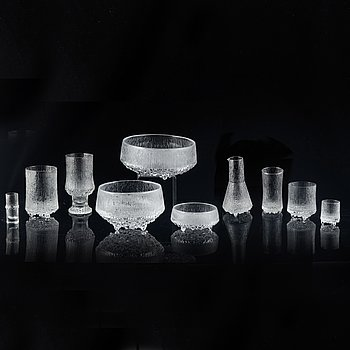 "Tapio Wirkkala, a late 20th century 52 pcs part glass service ""Ultima Thule"" for Iittala, Finland."