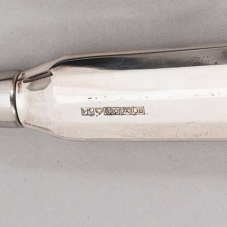 Pekka piekäinen, serveringsbestick, 7 st, silver och rostfritt stål.   åbo 1993-2010.