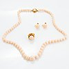 Set with ring, necklace, earrings, light coral.