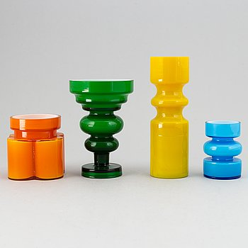 PO Ström, a set of four glass vases by Alsterfors Glassworks, 1960-70s, one signed.