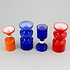 Po ström, a set of four glass vases by alsterfors glassworks, three signed.